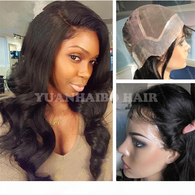 Moda 1b calidad 8a suelta la onda delgada piel humana virginal brasileña del pelo de la peluca llena del cordón del envío