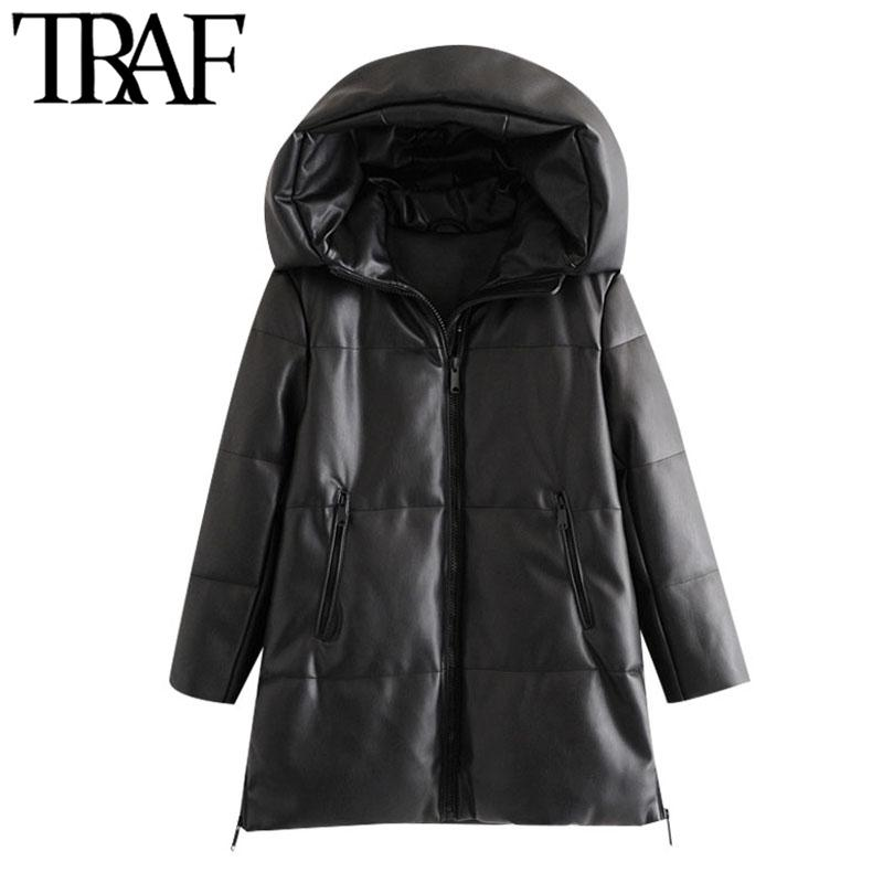 TRAF Women Fashion Thick Warm Winter Faux Leather Parkas Coat Vintage Hooded Long Sleeve Female Outerwear Chic Overcoat 210203