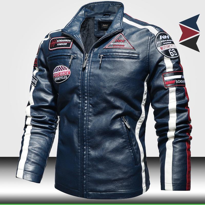 Homens Moda Moto Casacos De Couro Na moda Novo Casaco de Couro Biker Com Bordado Epaulet Homens Faux Leather Bomber Jacket 201022
