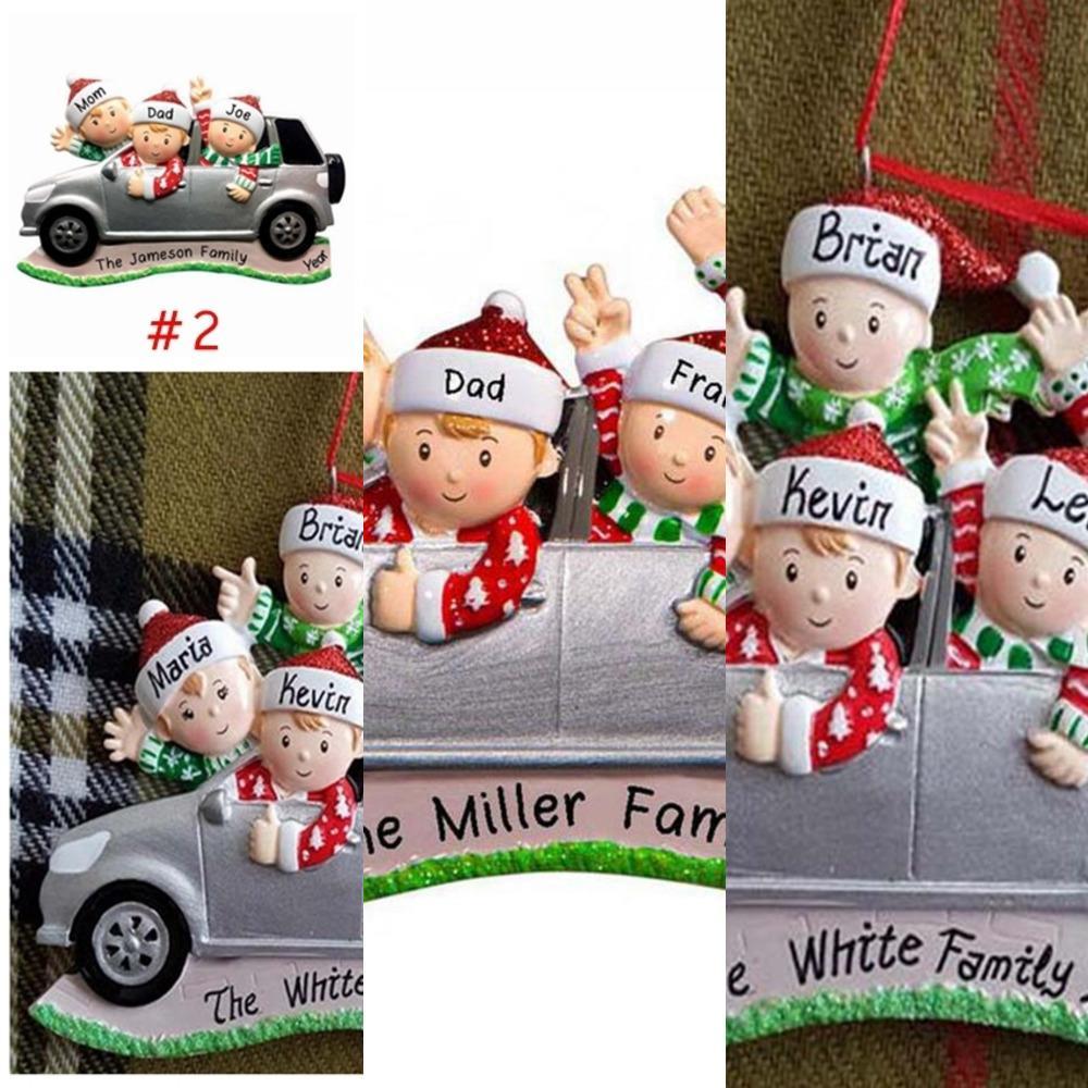 Fabrika OUTETKJ642020 Noel Küçük Araba Kolye DIY Adı Benediction Süs 2-6 Xmas Ağaç Ailesi Asılı Kolye