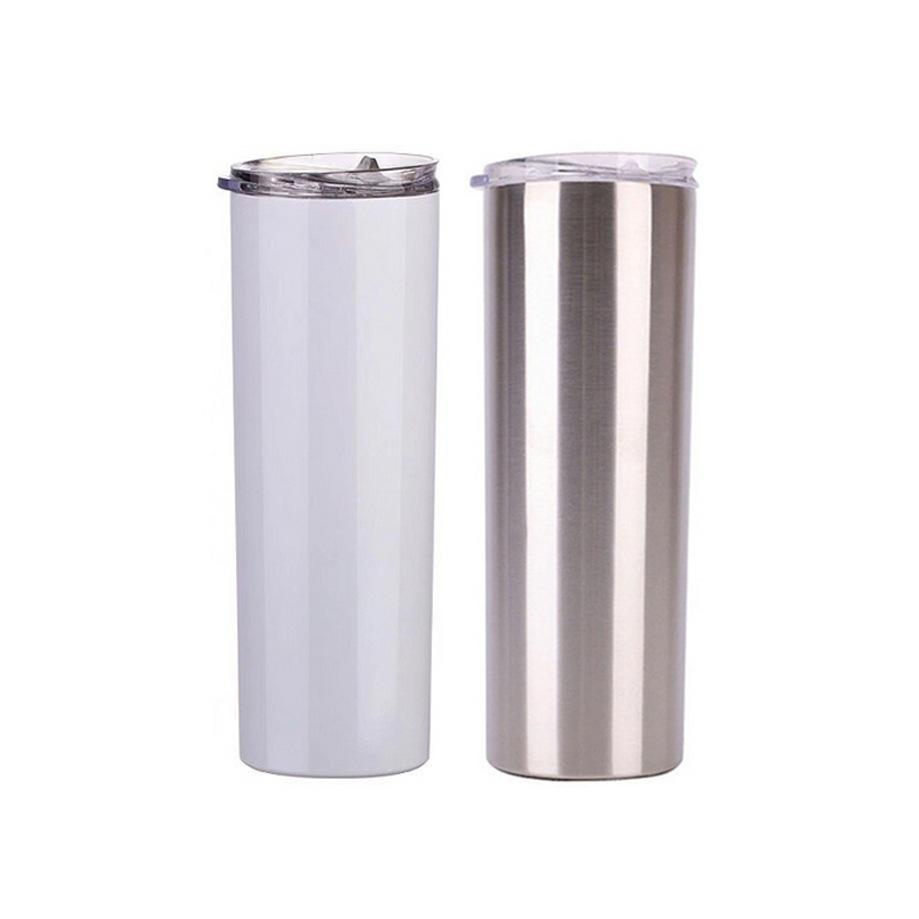 20Oz Sublimation Skinny Tumblers Leere weiße Tasse mit Deckel Stroh Edelstahl Getränk Tasse Vakuum isoliert Wasser Kaffeetasse Sea Schiff FFA4443