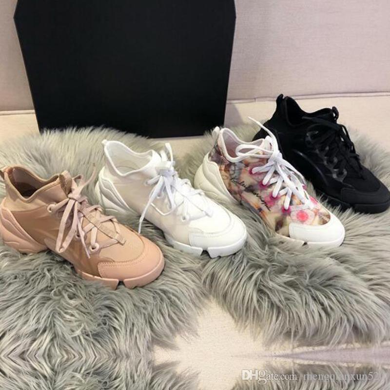 Scarpe casual Donne Viaggio in pelle di viaggio Sneaker Sneaker 100% Cowhide Moda Signora Spesso Soletto Designer Running Trainer Lettere Donna Shoe Platform Gym Sneakers Dimensioni 35-45
