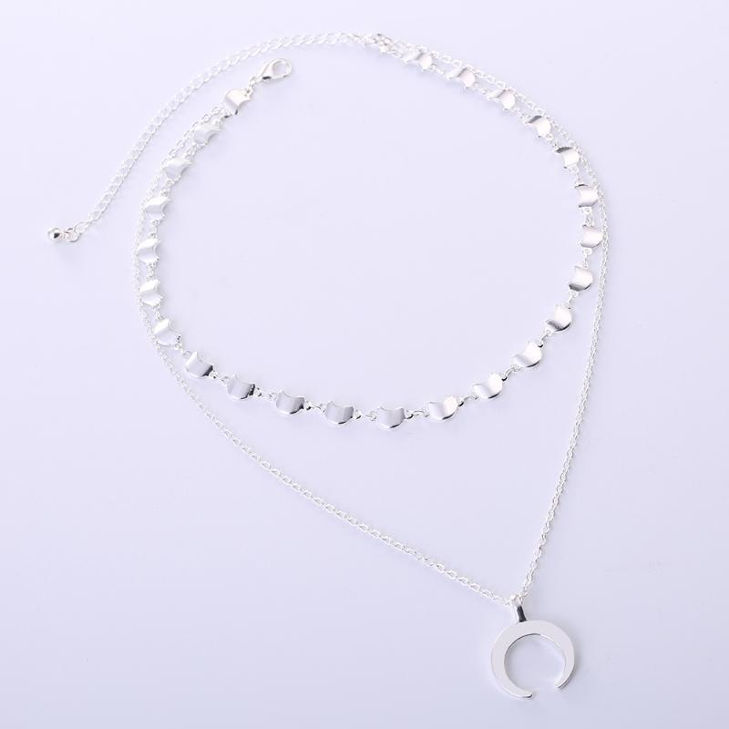 Pendant Necklaces FOMALHAUT Fashion Simple Multi-layered Horn Chain Necklace Long Strip Moon Women 2021 Jewelry XS-05