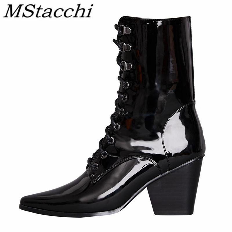 Mstacchi Croix-Tied en cuir verni Femmes court Bottes Pointu brut Talon 2020 Mode Chaussures Casual Madame Femme Panier Chaussure