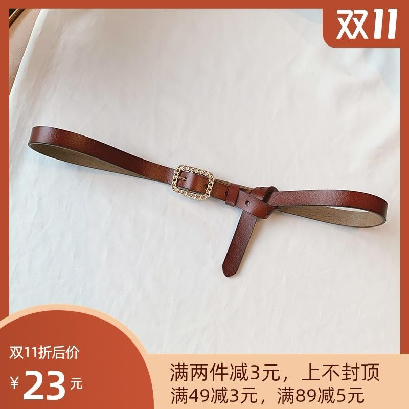 Korean fashion chain pin buckle leather small for women with Jeans Dress, all kinds of pure cowhide thin belt