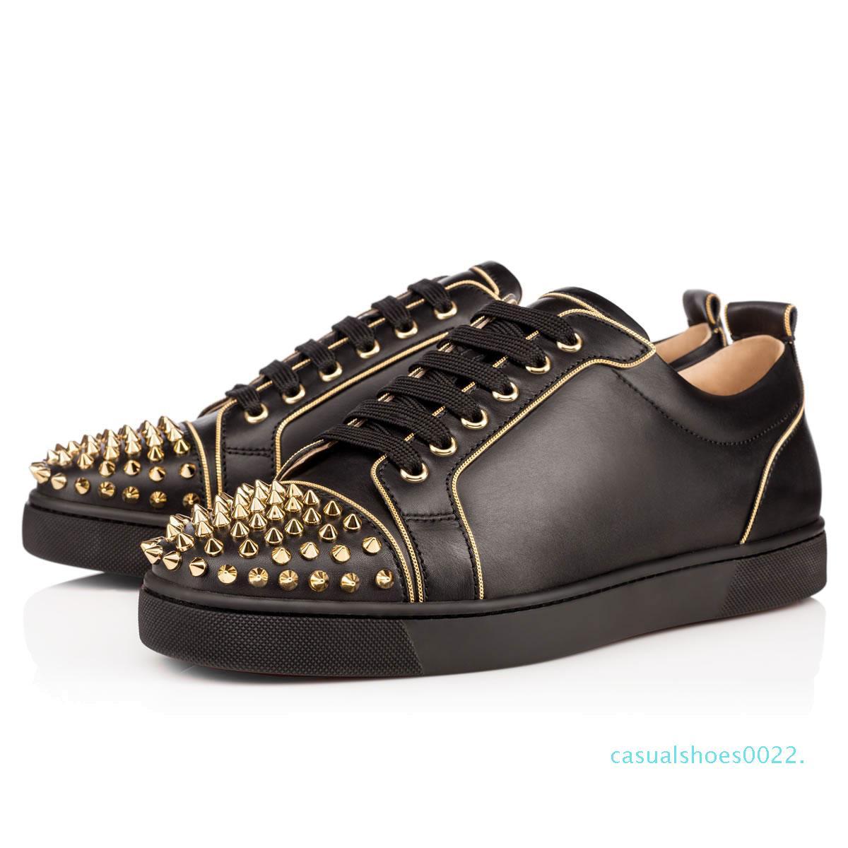 Kırmızı ayakkabılar lüks Womens Parti Aşıklar Gerçek Deri Sneakers boyutu 36-46 c22 2019 tasarımcı Marka Çivili Dikenler Flats ayakkabı