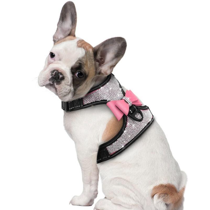Full Rhinestone Dog Imbracatura Morbido Mesh Reflective Dog Brabre Gilet per piccoli cani medi pitbull Bulldog Bowknot ACC Bbynjj
