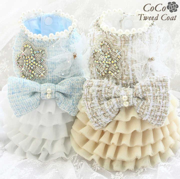 Free shipping Handmade tweed Ch** style dog clothes classic gem camellia pet dresses cats apparel