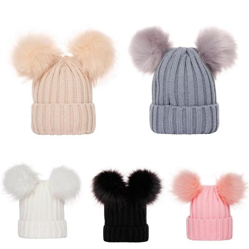 0-3T Baby Kids Crochet Beanies Womens Winter Hat Skull Caps Mom Girls Matching Ribbed Knit Tuque Knit Headwear with 2 Big Ball Poms E101904