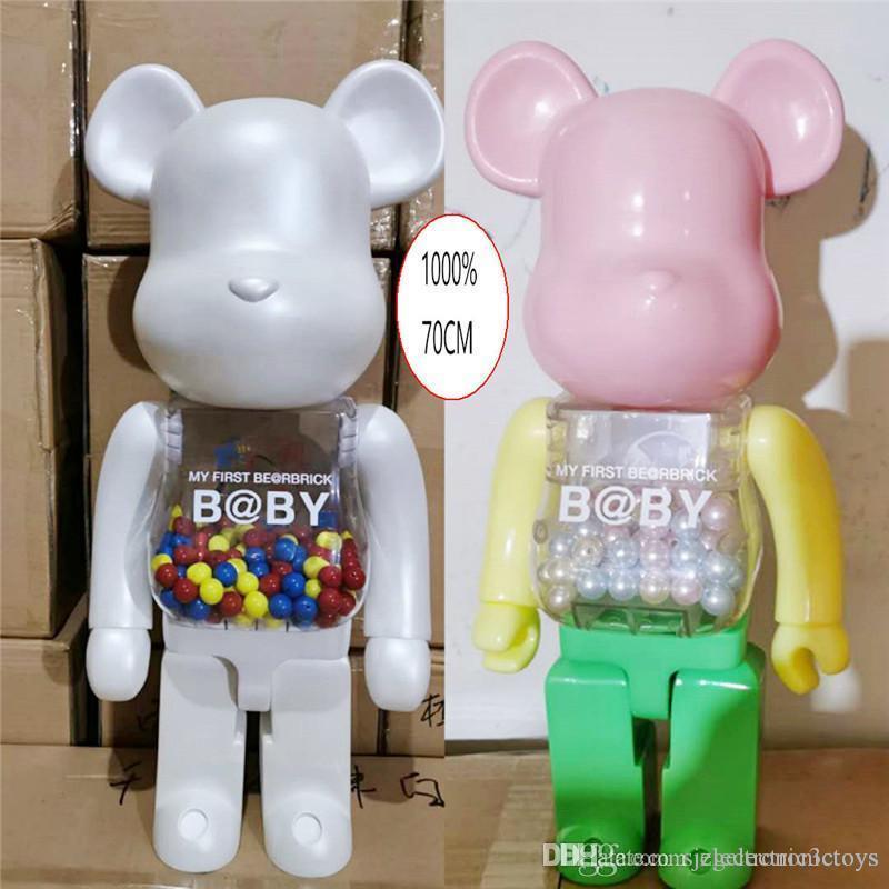 HOT 1000% 70cm Bearbrick Evade Colla rosa Bianco e Blu Bosco figure giocattolo per collezionisti Be @ rbrick Art Lavoro Modello Decorazioni Bambini Regalo