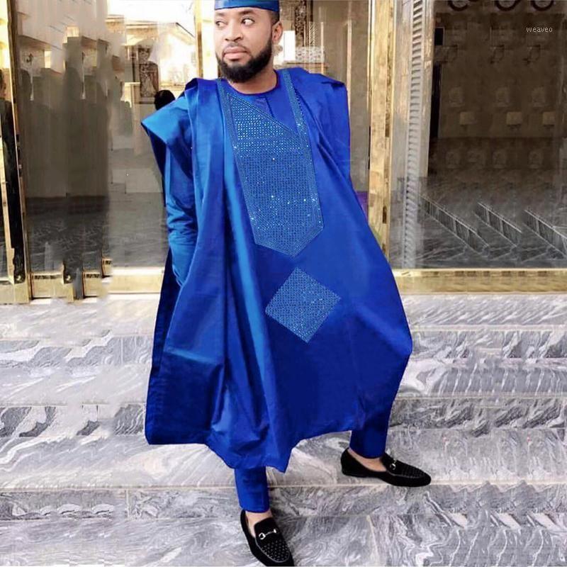 HD 2020 Erkekler Afrika Giyim Tops Pantolon 3 adet Agbada Takım Elbise Uzun Kollu Örgün Kıyafet Nakış Desen Taşlar Ile Robe Afrika11