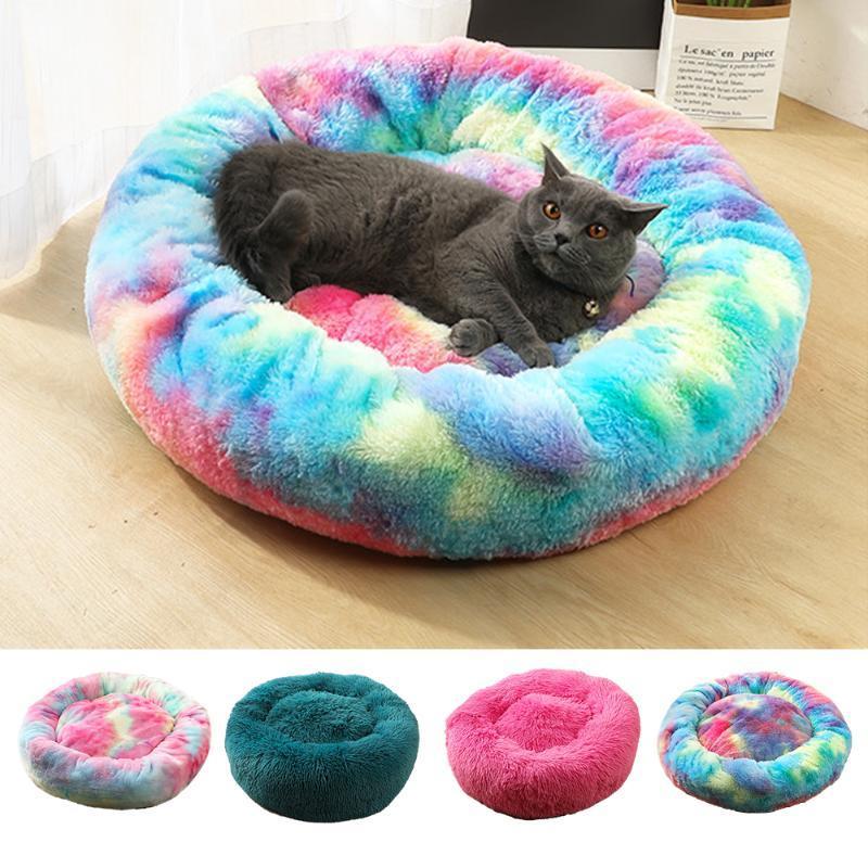 سوبر لينة سرير الكلب جولة قابل للغسل طويل القطيفة الكلب بيت الكلب القط البيت المخملية ماتس صوفا لتشيهواهوا سلة الحيوانات الأليفة سرير
