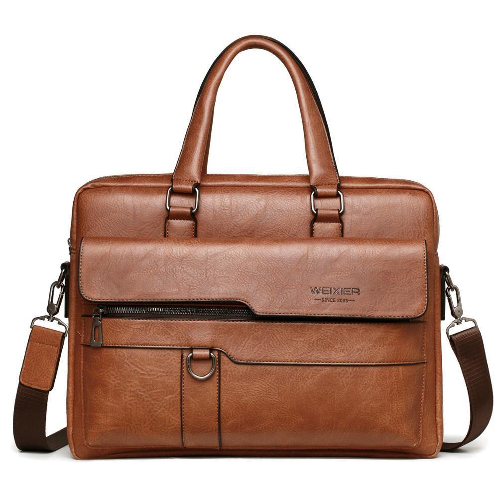Vintage Briefcase 15.6 inch Laptop PU Leather Male Handbag for Man Shoulder Bags Large Men Briefcases Business Bag Q0112