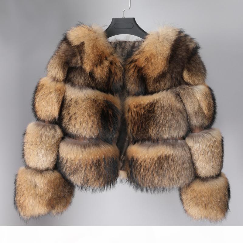 Lavelache 2020 새로운 진짜 모피 코트 겨울 자켓 여성 파카 자연 너구리 모피 코트 하이 스트리트 두꺼운 따뜻한 O 목 넓은 허리