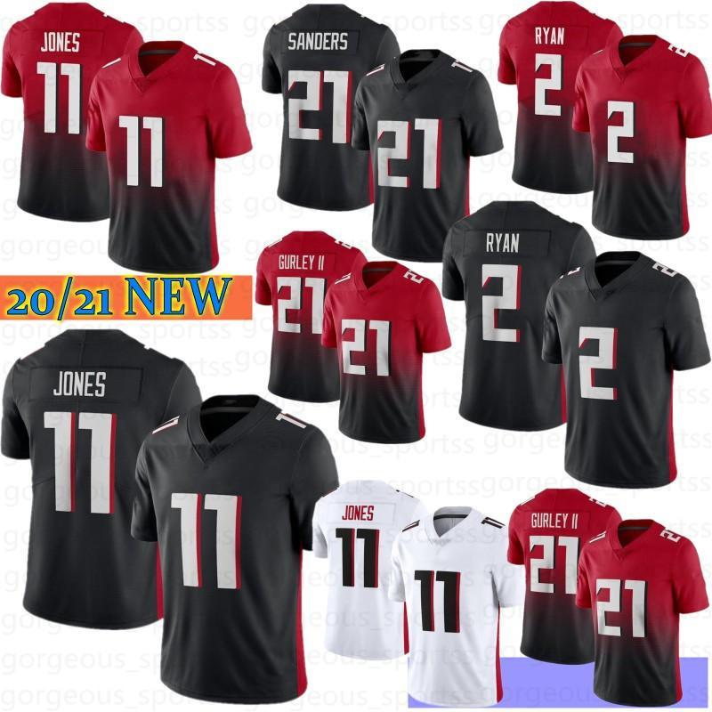 11 Julio Jones 2 Matt Ryan Homens Futebol Jersey 21 Todd Gurley II 18 Ridley Deion Sanders 24 DevontA Freeman 2021 Camisetas de Fútbol