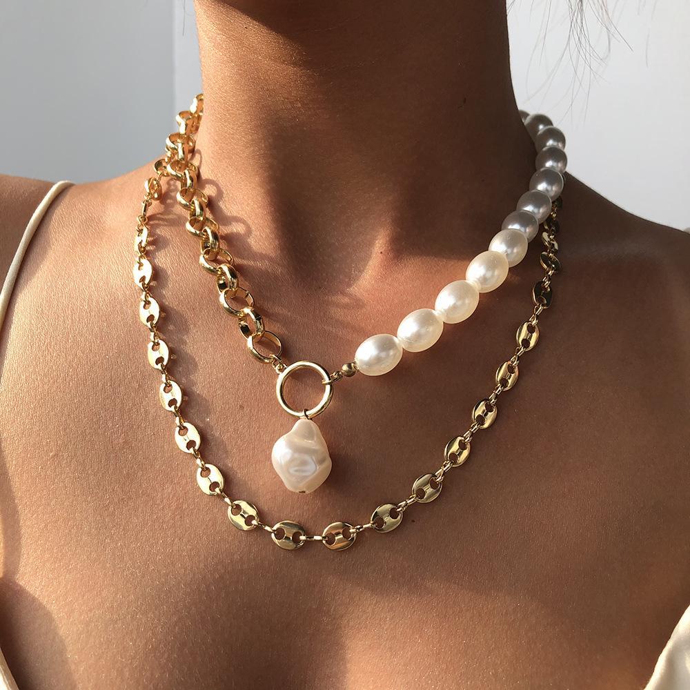 KPOP 2 couches baroques perles de perles de perles de mariage de mariage clavicule chaine chain collier pour femmes bijoux esthétiques
