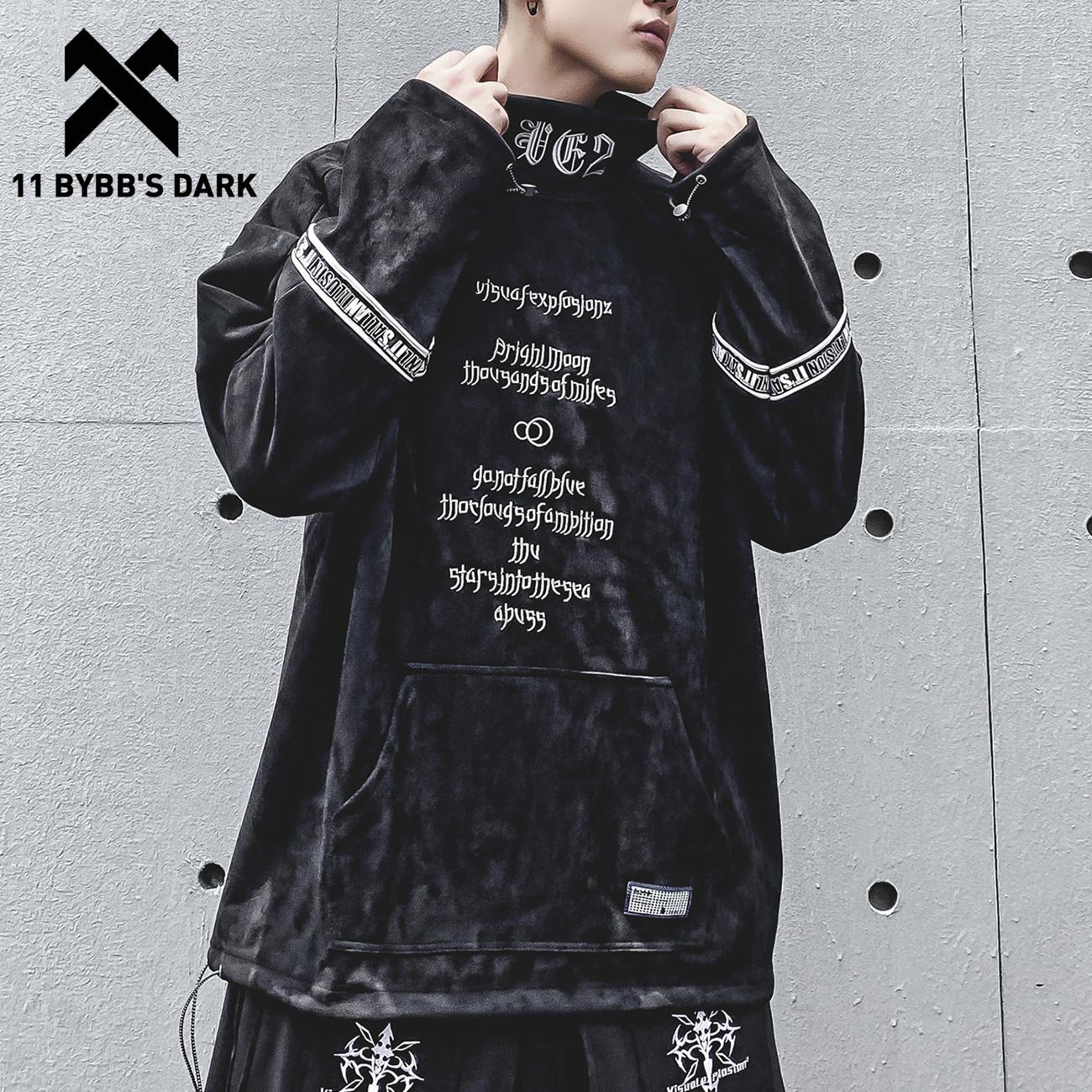 11 BYBB'S KOYU Vintage Nakış Hip Hop 1019 Hoodie Techwear Taktik Streetwear Hoodie Kazak Erkek Streetwear Kazak Pamuk