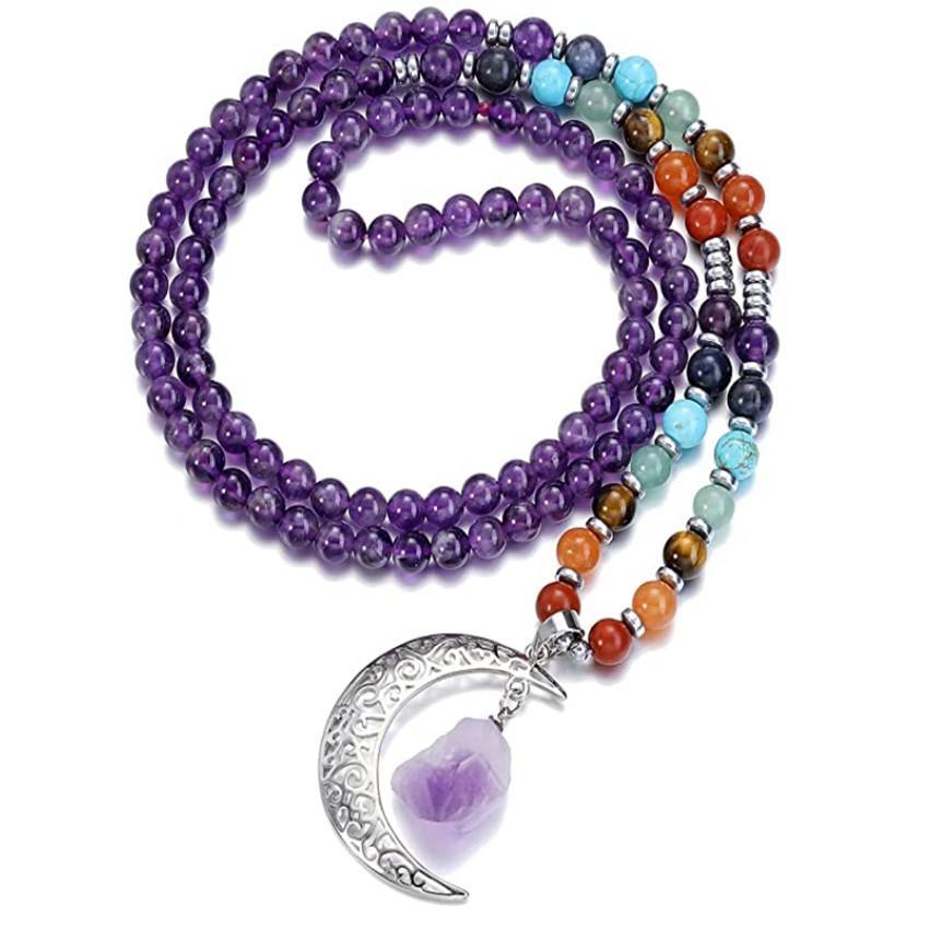 5 PCS Plateado Plateado Colgante Crescent Luna Luna Amatista Crystal Long Beads Cadena Neclace Rose Cuarzo Curación de Curing Chakra Joyería
