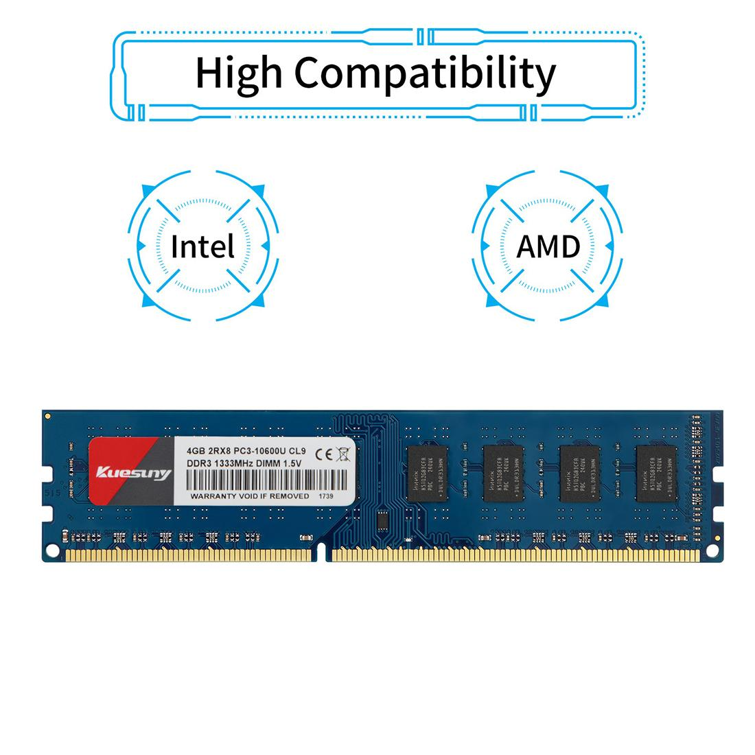 Kuesuny 8GB ram DDR3L-1600 Udimm PC3L-12800U CL11 240 Pin 2RX8 Dual Rank Non ECC Unbuffered 1.35VDesktop Computer Memory Ram Module Upgrade(Blue)