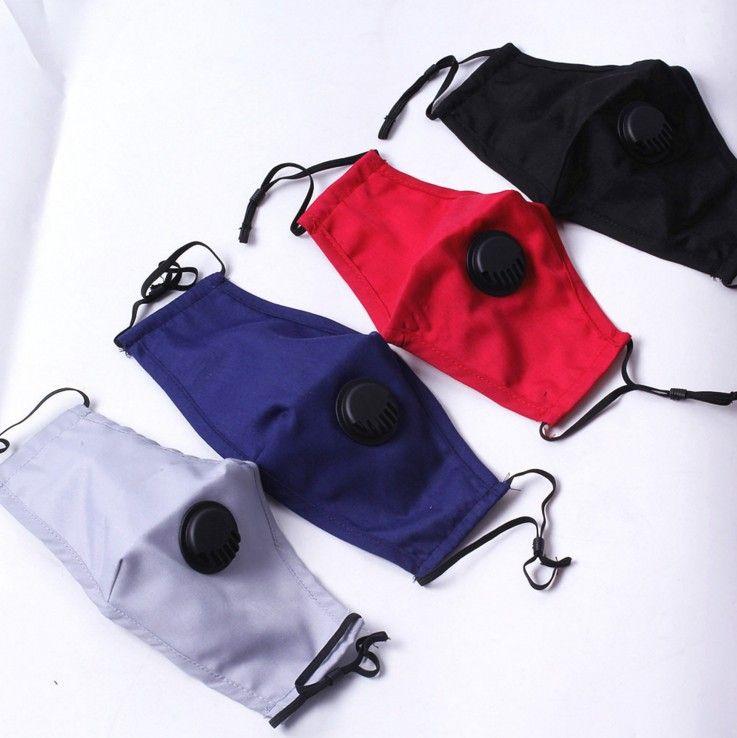 الأزياء للجنسين أقنعة الوجه القطن مع تنفس صمام PM2.5 قناع الفم مكافحة الغبار قابلة لإعادة الاستخدام قناع النسيج