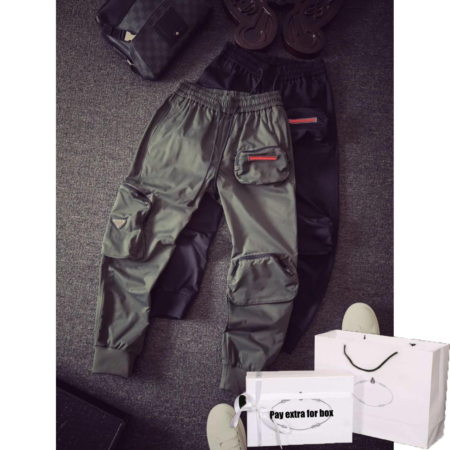 Hommes Jogger Mode 20FW Nouveaux garçons Hiphop Streetwear Salopette Automne Garçons Pantalons avec 3 poches lettres sur Casual New cordonnet Sweatpants
