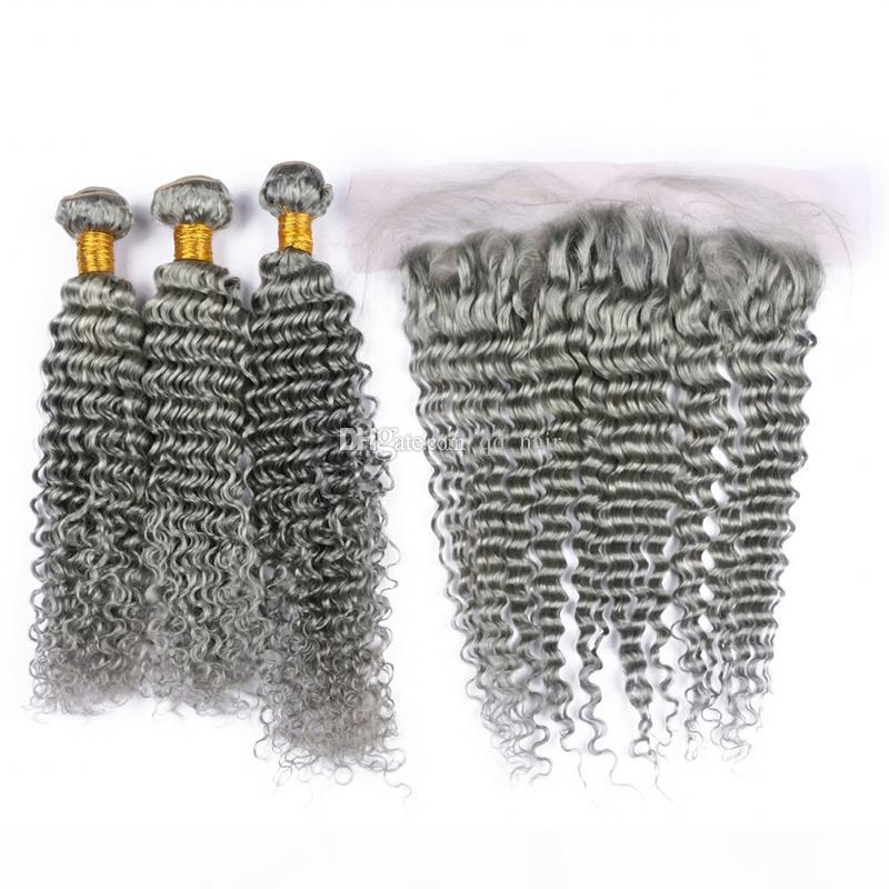 Extensiones de cabello gris de onda profunda con oreja a oreja de encaje frontal de cierre libre parte gris Pelo rizado profundo 3 paquetes con encaje frontal