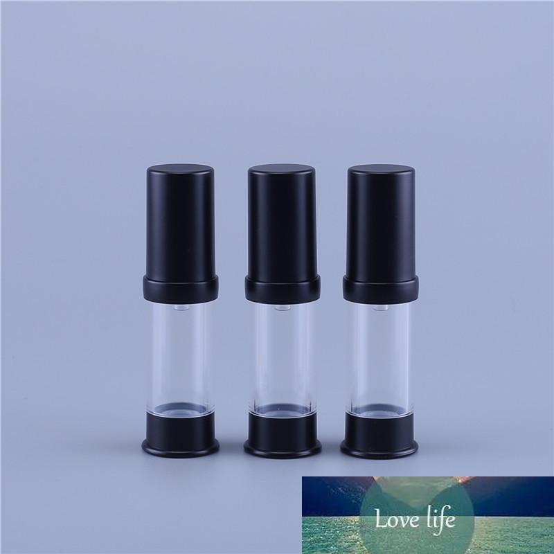10pcs 5ml di plastica senz'aria portatile Bottiglia cosmetica di trattamento Pompa corsa a vuoto nero contenitore della bottiglia di profumo Black Cap