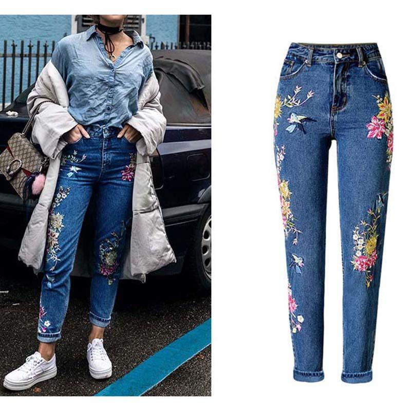 Nuovo modo dei vestiti del denim delle donne pantaloni diritti lunghi pantaloni dei jeans fiori 3D ricamo a vita alta donna jeans legging pantaloni 200930