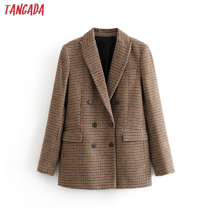 Тангада Женская палка зимний двубортный костюм куртка офисные дамы винтажные клетки блейзер карманы рабочие носить вершины 3H155 201102
