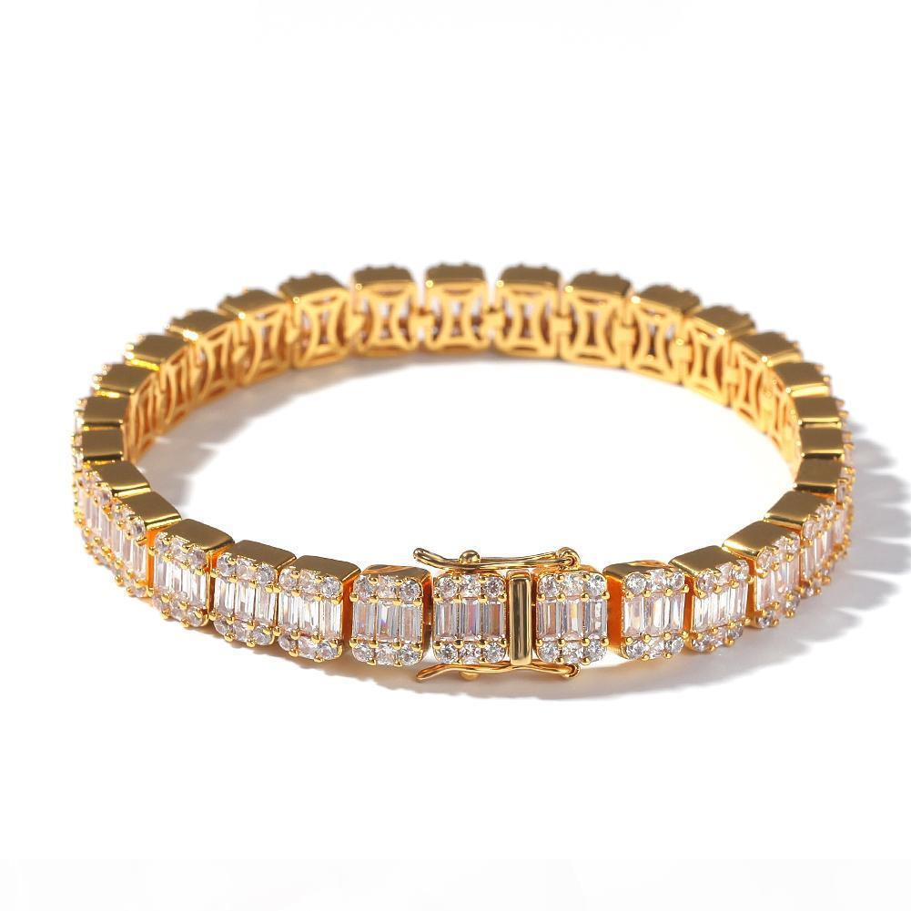 Iced Out Baguette Cluster Bracelet Square Cubic Zirconia Hip hop Bracelets Men Women Bling Bling Jewelry
