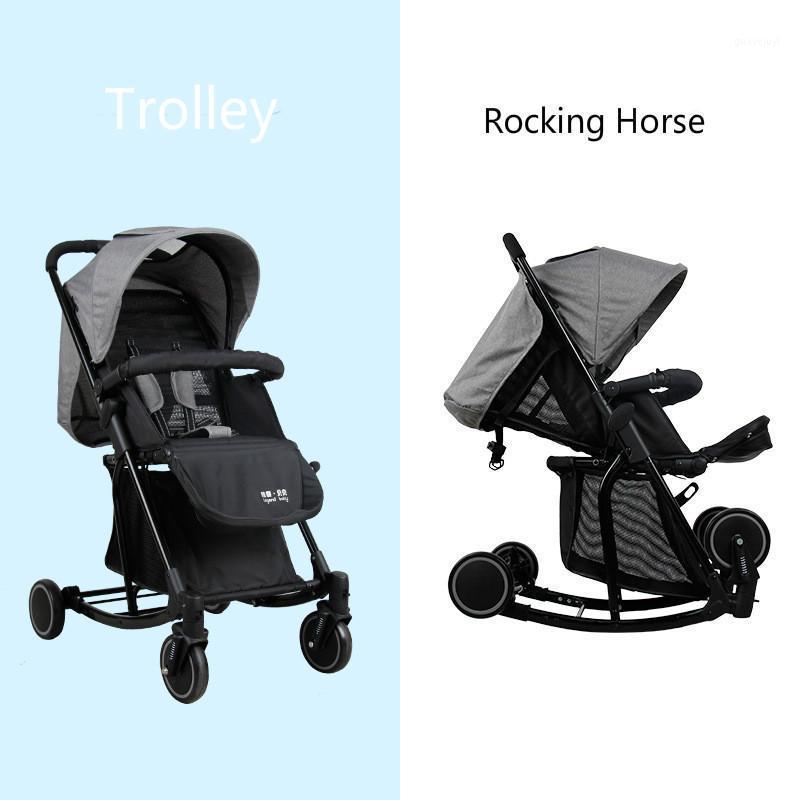 Cochecito de bebé multifunción y caballo mecedora Portátil Ligerable Portátil Carruaje Recién Nacido Infantil Cuatro ruedas Viajes plegables PRAM1