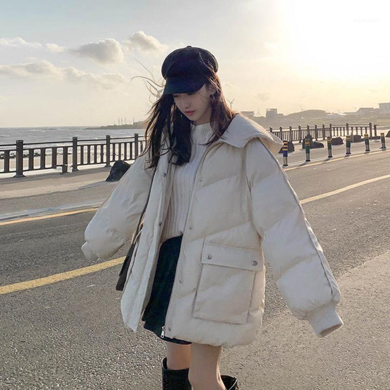 Сплошная теплый Женщина Куртка Зимний Свободные Случайные Повседневные Парки Женщины Пальто Корейский Капюшон Капюшоны Мягкие Наголовые Волны STOWS XY50551