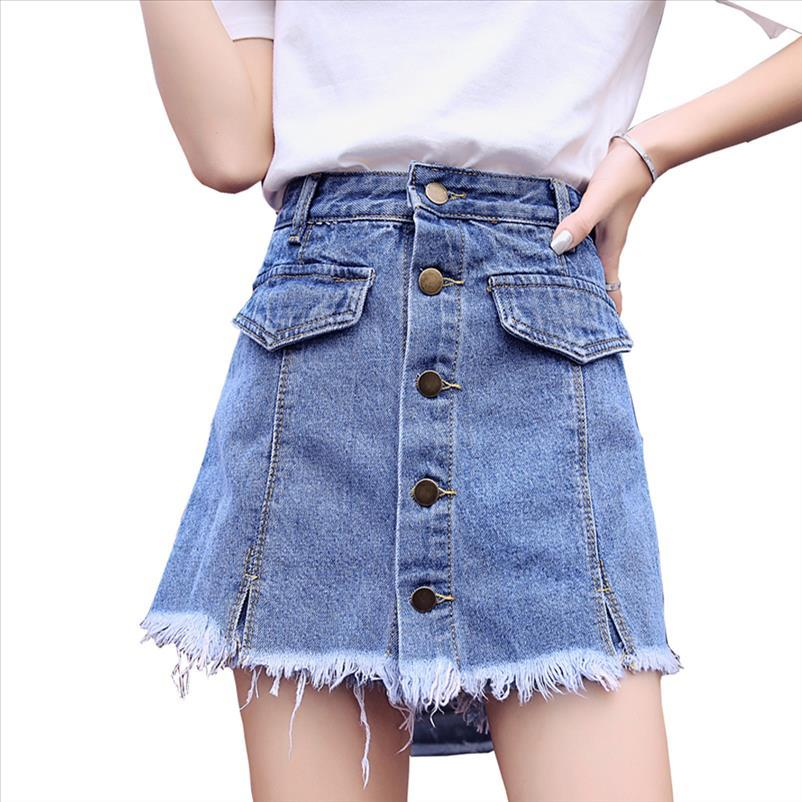 Юбка шорты женские джинсы короткие высокие моды джинсовые юбки носить 2021 талия кнопка джинсовые короткими женские летние брюки XXL KQNLM