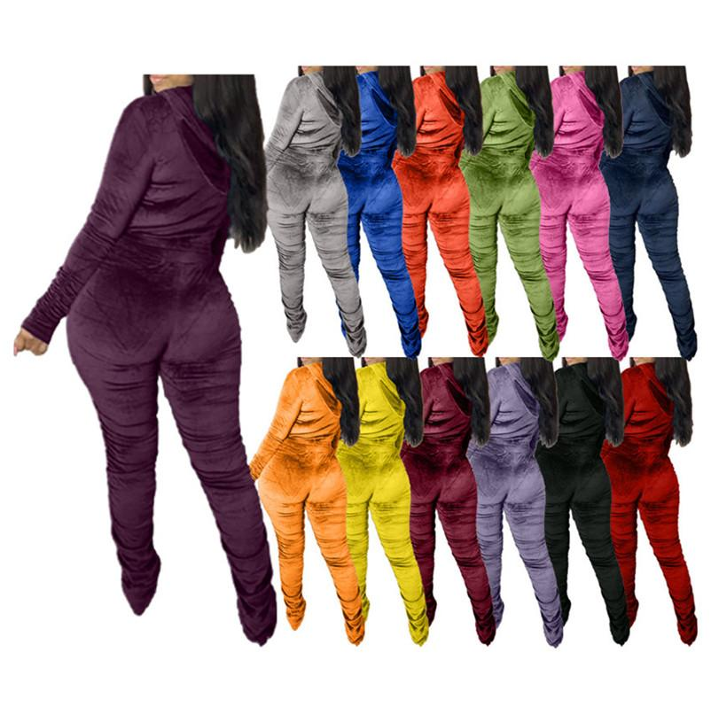 2021 Autumn And Winter Ladies Sweatshirt Sportswear Gold Velvet Zipper Pleated Long-Sleeved Trousers Fashion Casual Two-Piece Suit F110603