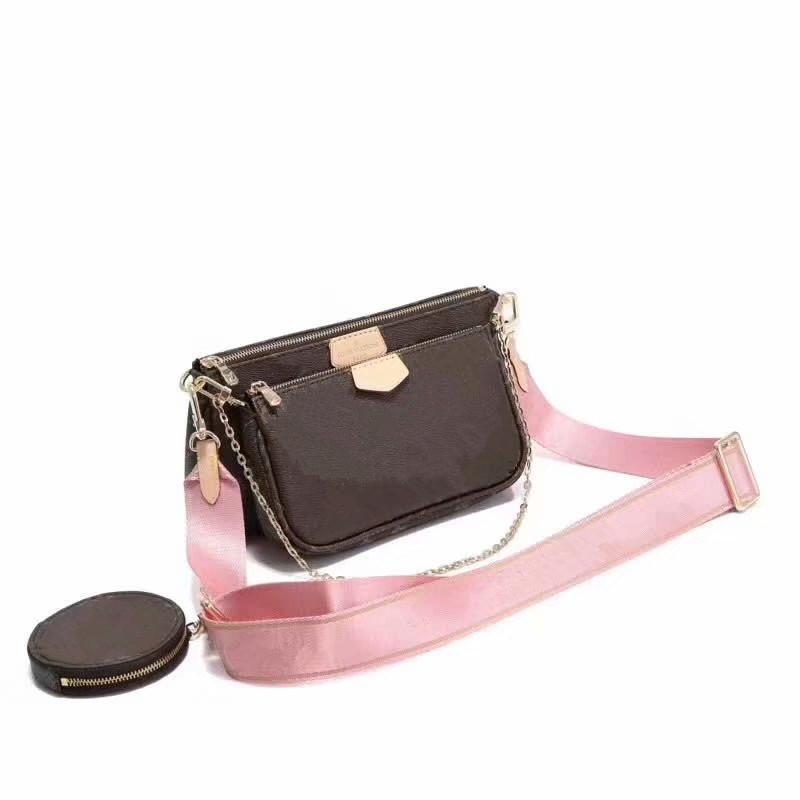2020 Женщины сумки посыльного плеча сумки цепи мешок хорошее качество кожи кошельки женская сумка 3 UNIDs / комплект