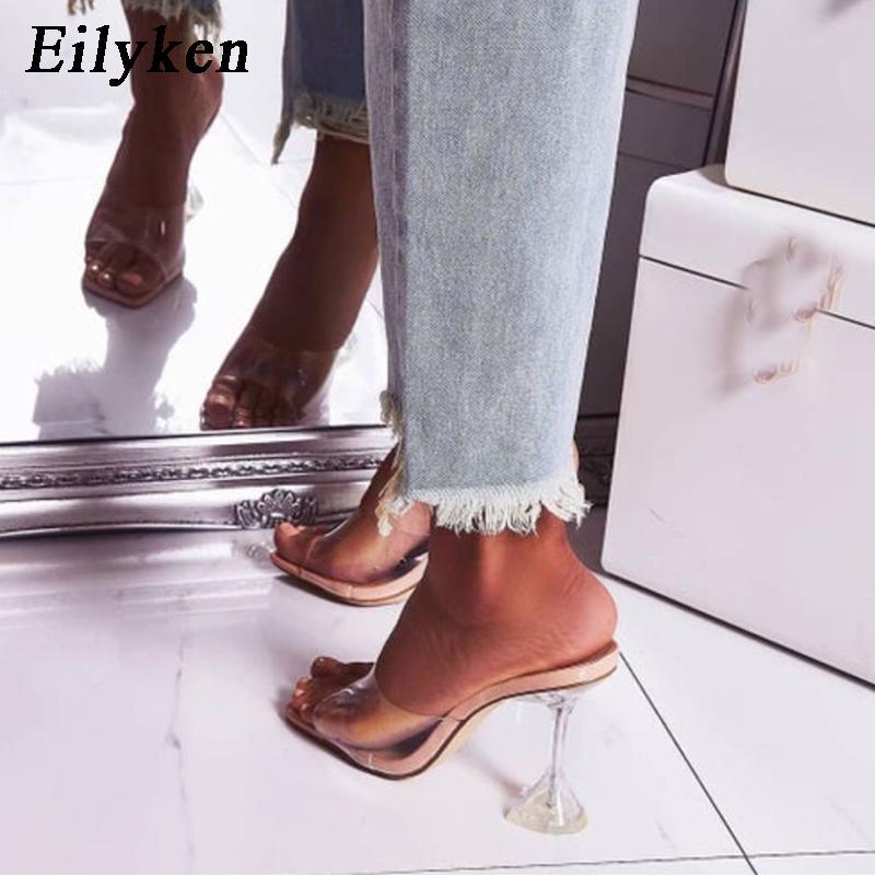 Eilyken Orange Silver PVC Jelly Slippers Open Toe High Heels Women Transparent Perspex Slippers Shoes Heel Clear Sandals Size 42Z0122