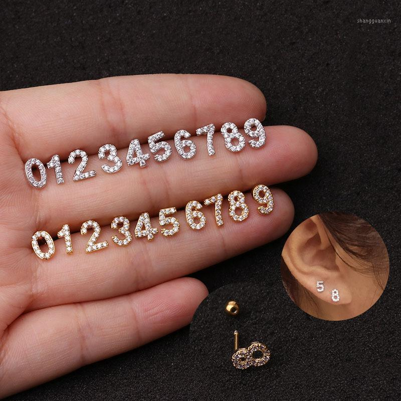 1Pc Zircon Stone Ear Piercing Tragus Ring Number 16G Earrings Ear Piercing Cartiliage Jewelry1