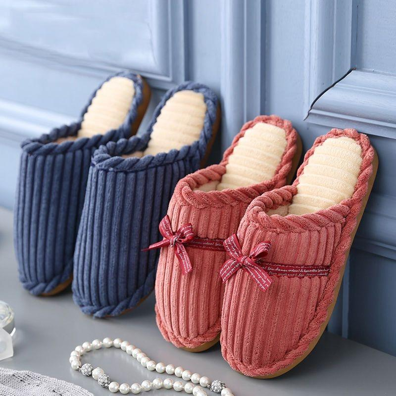 0AxmU Cotton Wick Slipperswomen winter home lovers coarse corduroy slippers indoor antiskid thick soled warm moon shoes slippers