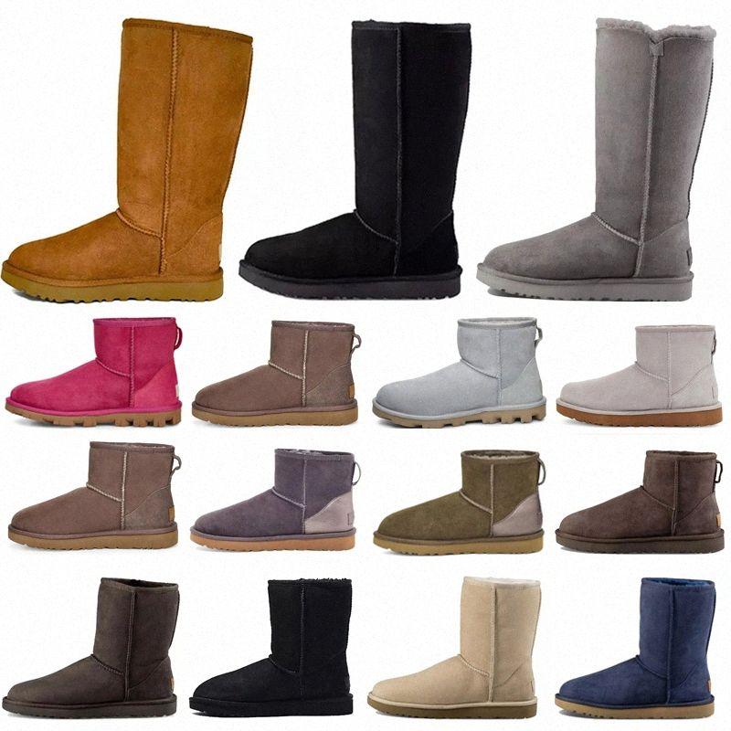 2021 Designer Clássico ugg uggs Sapatos Curtos Bailey Bow Botão Alto Tripleto Austrália Mulheres Boot Inverno Neve Neve Botas Australianas Botas Furry Botinhas