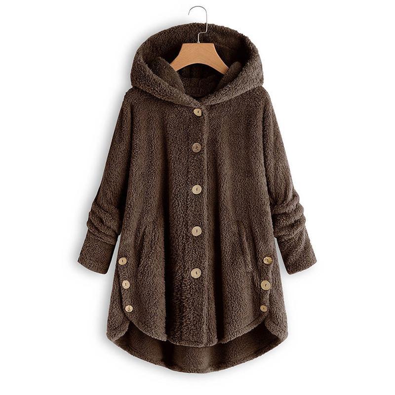Botón felpa chaqueta de la camisa de invierno chaquetas nuevas mujeres forman la capa más el tamaño irregular de color de piel Mujer 5Xl Mujeres Parka 201014