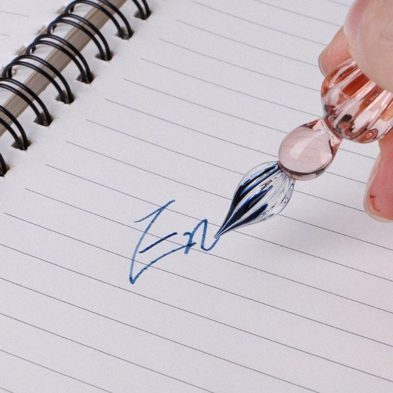 Mergulhar mergulho Pen Vidro Vintage Assinatura enchimento de tinta penas de fonte com caixa de presente sU88 #