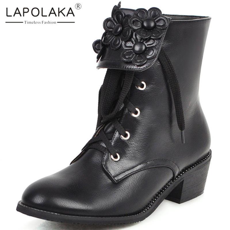 Doratasia 2020 Hot Sale Tamanho Grande 48 Shoes Mulher Flores Retro Cordão Chunky Heels Ocidental Female Boots
