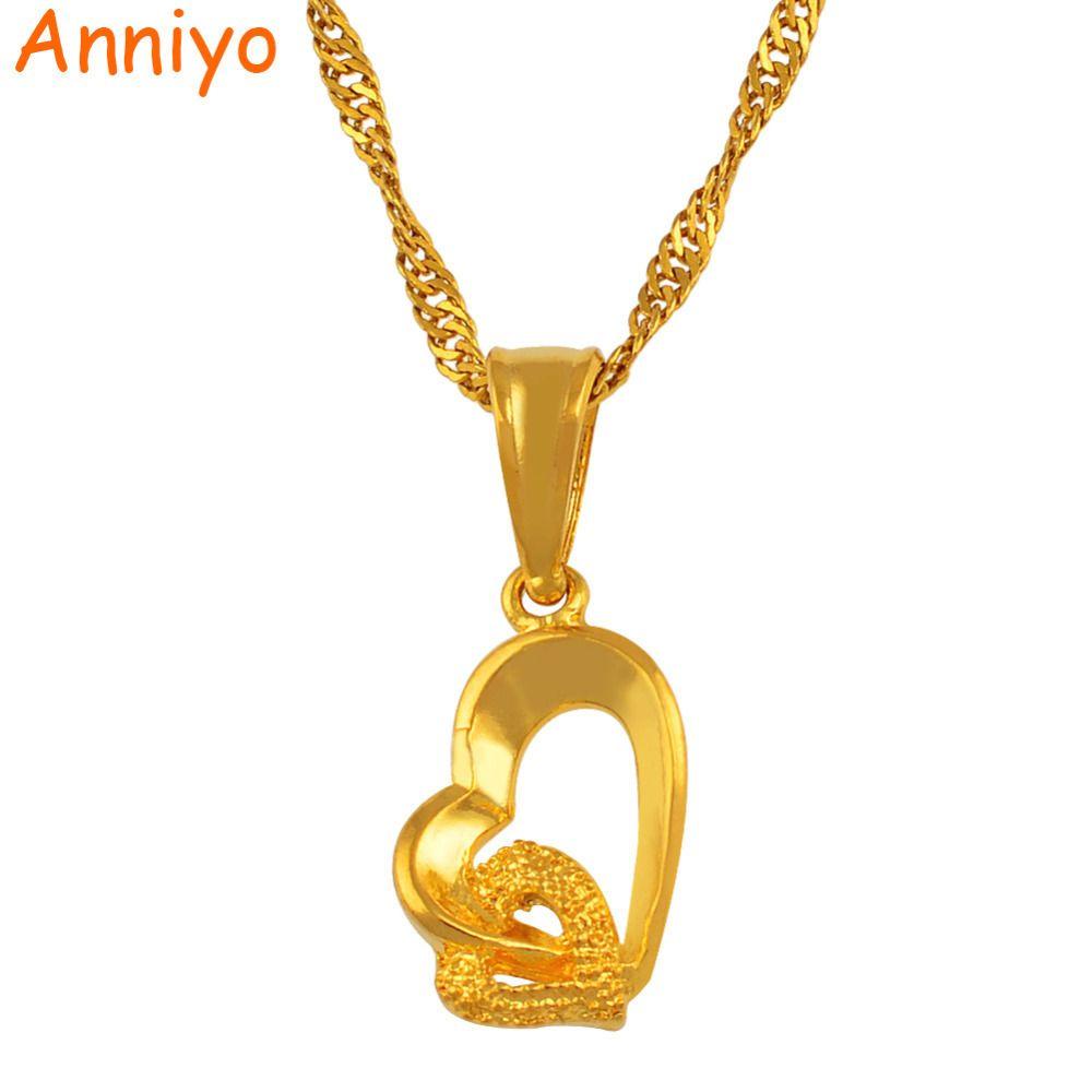 """Anniyo pequeño mini cadena collar pendiente del corazón """"/ 24"""" del amor del color oro de 18 joyas de la mujer romántica manera de la muchacha / bonito regalo"""