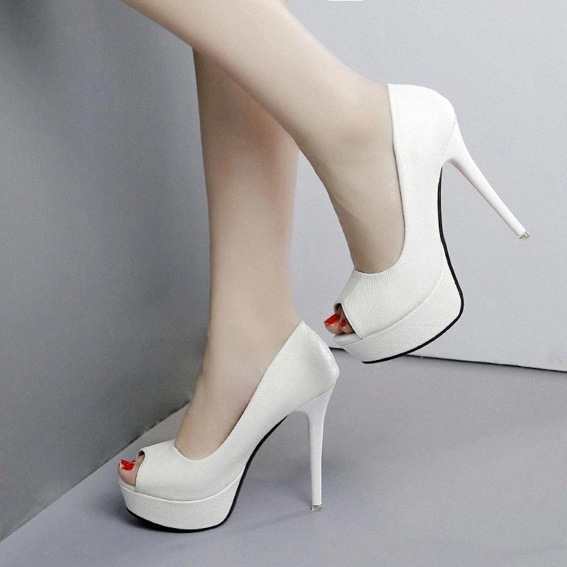 2019 Scarpe da donna Autunno Moda Piattaforma Femminile Pompe femminili Sexy Sexy Tacco alto Tacchi alti 12 cm Scarpe Donne Peep Toe Shallow Single # LX8C