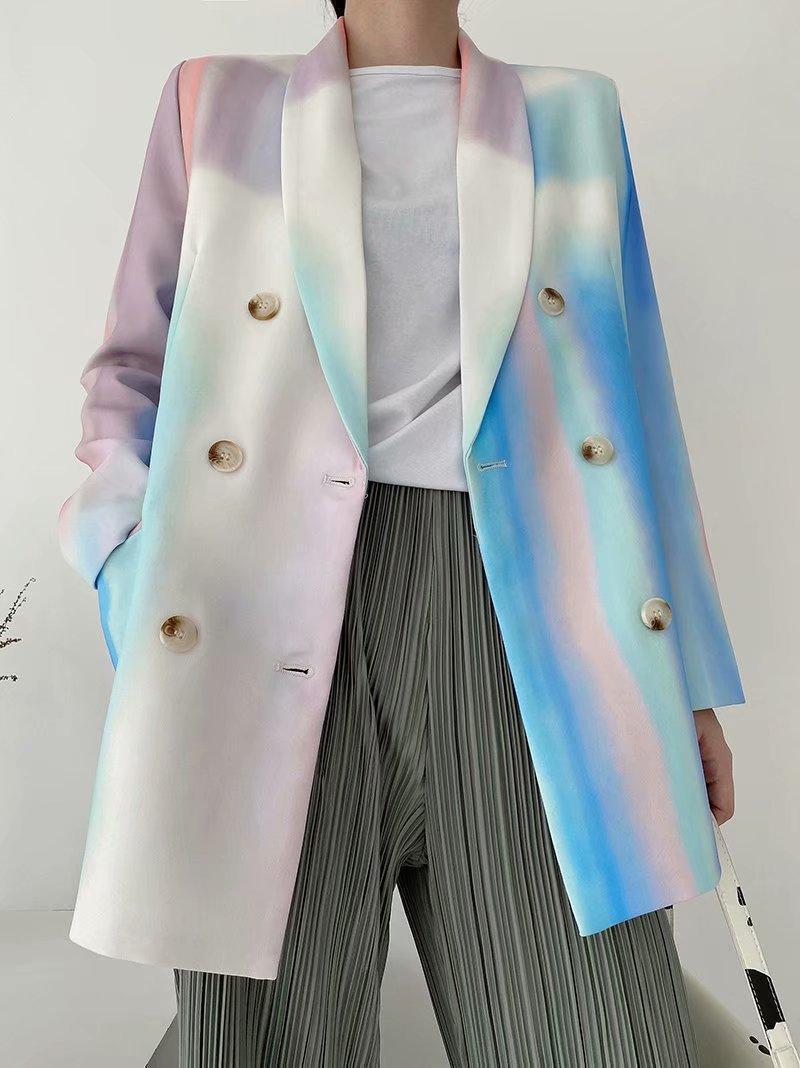 Autunno Donna Blazer Single Breasted Giacche lunghe per ladies Tie-Dye Stampa Moda Ufficio Moda Ladies Cappotto esterno Blazer Feminino