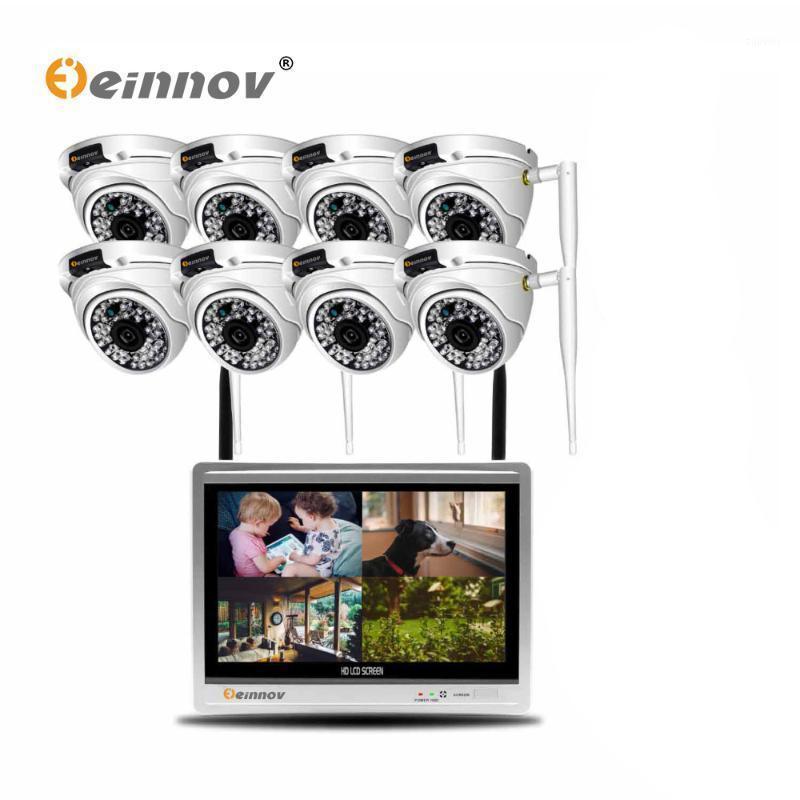 Einnov 8ch 2mp cctv مجموعة كاميرا الأمن اللاسلكية مراقبة فيديو كاميرا ip 12inch lcd nvr كيت في الهواء الطلق قبة الأشعة تحت الحمراء ضوء HD1