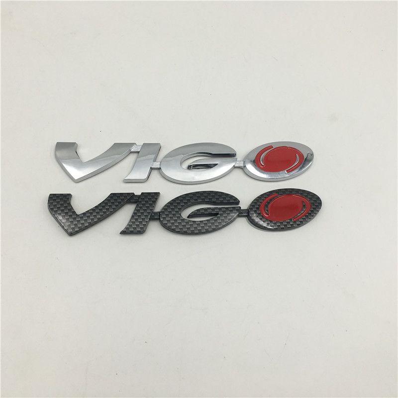 Estilo de automóvil para Toyota Hilux VigoGate Emblem Tronco trasero Logo Insignia Nombre Plátula Negro Carbono / Plata