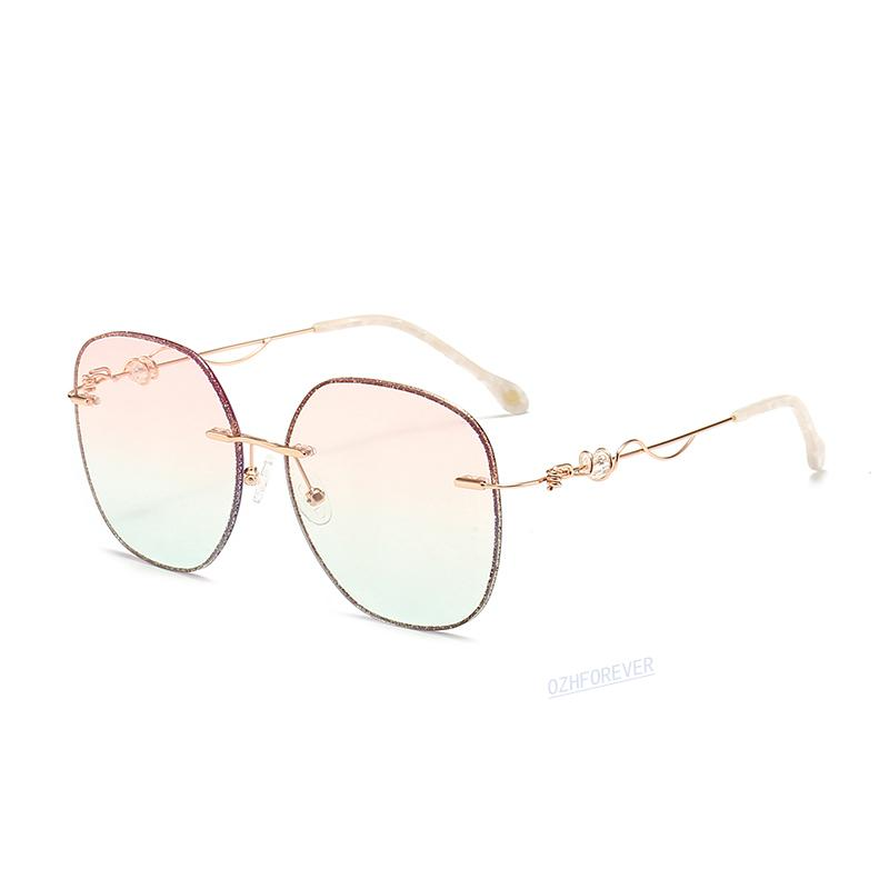Herren Womens Black Glass Braun und Marke Transparente Linse Frameless Fahren Sonnenbrille CPMJX