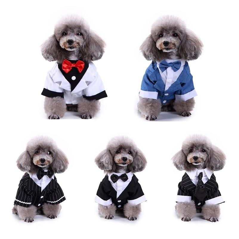 신사 애완 동물 옷 개 양복 스트라이프 턱시도 나비 넥타이 웨딩 공식 드레스 개를위한 할로윈 크리스마스 복장 고양이 재미있는 의상 T200710
