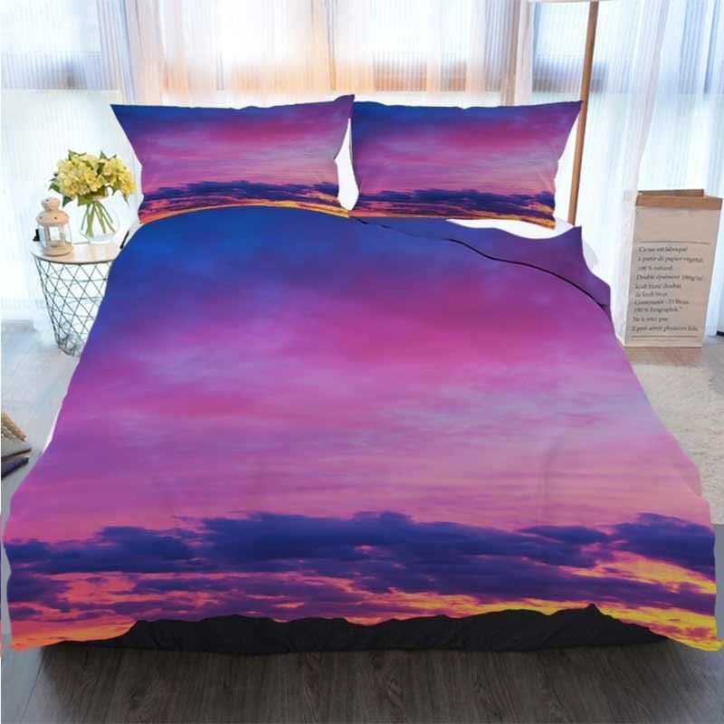 3D-Druck Frohe Weihnachten Bettwäsche Landschaft mit Himmel und Wolken Sonnenaufgang Duvet Cover Designer Bed Comforters Sets